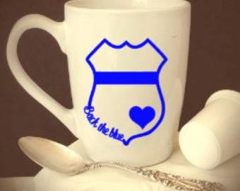 Back/the/blue/heart/badge/police/cops/coffee/cup/wine/glass/gift/corrections/support