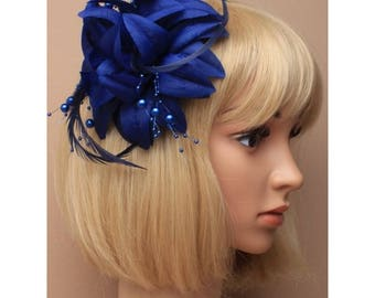 Navy fascinator, wedding fascinator, wedding hair piece, flower fascinators, elegant hair piece, blue flower clip, ladies day hair piece