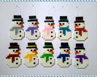 Snowman Christmas Tree Decorations Ornaments Hama Beads. Snowmen Hama Beads. Snowman. Xmas Window Decoration. Festive Perler Beads Pixel Art