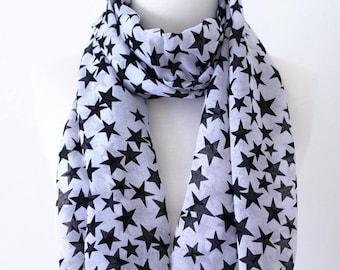 Soft Elegant Long Wrap Scarves / Black and Light Gray / Black Star Print Spring Summer Scarf / Women Scarves