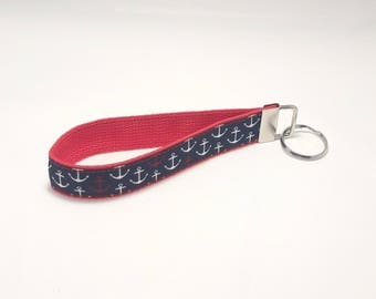 Keychain / Wristlet / Key Fob / Red Webbing, Navy Ribbon with White & Red Anchors