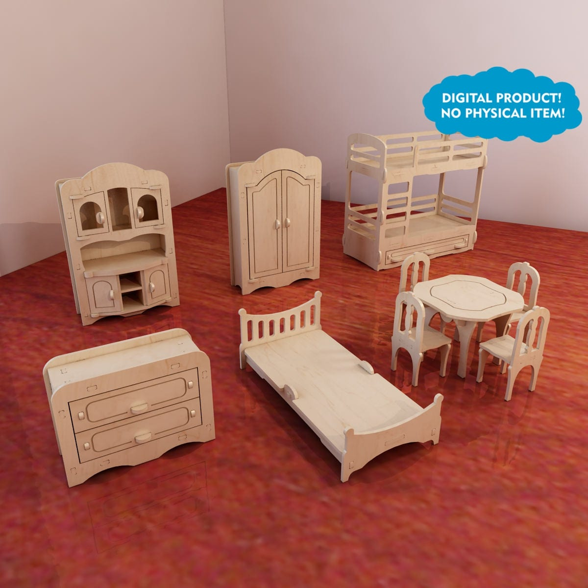 Dolls Furniture Pack Vector Models For Cnc Router And Laser  # Muebles Full House Colombia