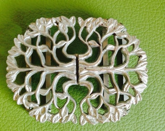 Vintage belt buckle/Silver colour/1970's/hook and eye buckle/tree buckle/metal buckle/replacement buckle/craft/sewing/