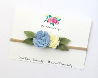 Baby girl headband, Toddler Headband, Toddler Flower Headband, Felt Flower Headband,Blue Flower Headband, blue Headband, sky blue flower