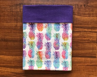 Bright Pineapples Baby Blanket: flannel baby blanket, baby gift, baby shower gift, purple baby blanket, gender neutral baby gift