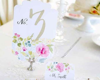 Watercolor floral table numbers, floral wedding, wedding table numbers