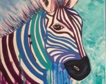 Zebra, rainbow, blues, greens, purple