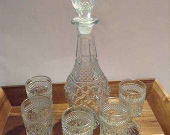 Vintage cut glass decanter set with stem glasses