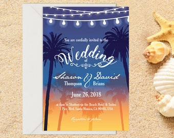 Beach Wedding Invitation, Destination Wedding, Beach Wedding, Tropical Wedding, Printable Wedding, Invitation template, Wedding invitation