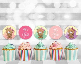 Teddy Bear Shower Cupcake Toppers, baby shower cupcake, baby cupcake topper, cupcake toppers, cupcake decorations, printable toppers
