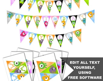 Little Monster Boy or Girl Birthday Banner, Instant Download, Monster Birthday Party, Edit Yourself!  7 Colors and 2 version of each.