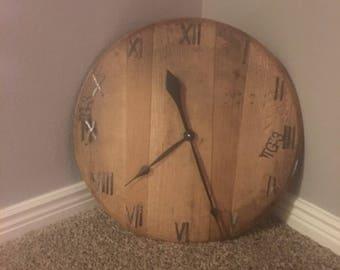 Bourbon Barrel Head Clock