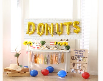 Donuts Gold balloons | Rose gold | silver mylar foil letter balloon banner, gold balloons, baby shower, wedding, party balloons, birthday