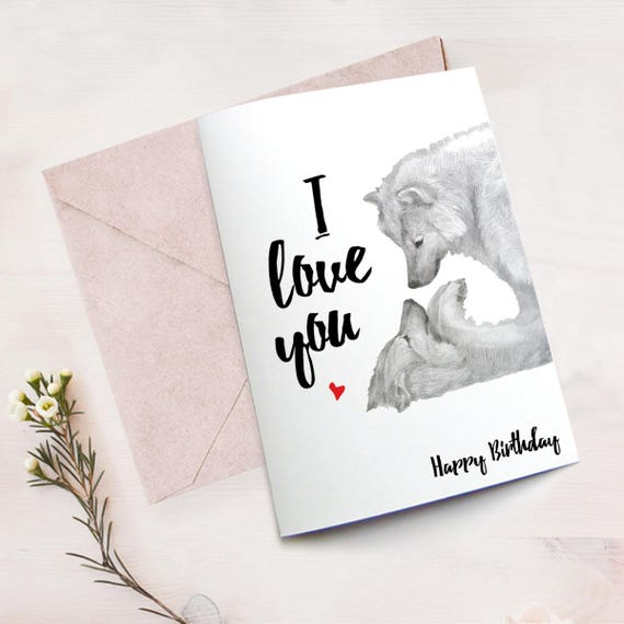 Wolf Love Card Download Printable Birthday Card Husband