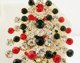 "Joan Rivers  Crystal Christmas Tree  Brooch   2 1/2"""