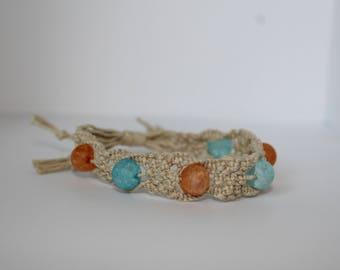Sea Glass and Macrame Adjustable Bracelet