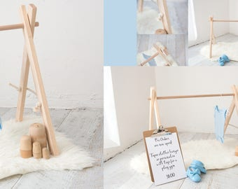 Wooden Tepee clothes hanger/Play gym