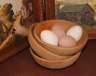 Wood Bowls, Set Of 3 Wooden Farm House Decor Bowls, Vintage Decor, Kitchen Decor