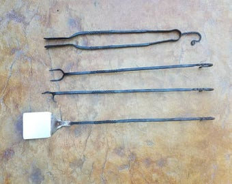 Blacksmith  hand made hand forged steel 4 piece cooking tool set for grill, firepit, smoker, camping.