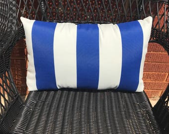 Cabana Stripe Blue Pillow Water Resistant
