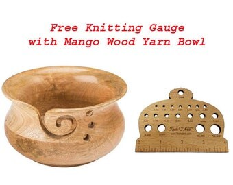 Free Knitting Gauge with Mango wood yarn bowl