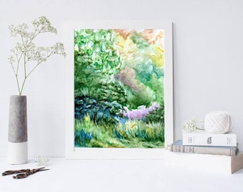 Abstract landscape Watercolor landscape Spring nature art Abstract painting Nature wall art Abstract wall decor PaintingOnlineStore