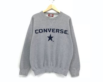 Converse crewneck Sweatshirt jumper embroidery big Spells Out Logo casual wear streetwear pullover