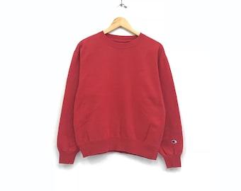 Rare!! Vintage CHAMPION Reverse Weave RENO Men Clothing Sweatshirt Pullover Jumper Sportwear Red Colour Large Size HDANp