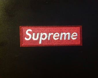 """4.5"""" Supreme iron on embroidered wine red embroidered patch Free usa shipping!"""