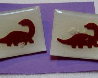 Rectangle shaped paper earrings- white with maroon dinosaur