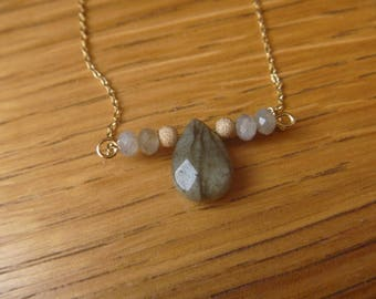 gemstone necklace and labradorite beads