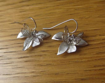 orchids, butterfly and Dragonfly earrings