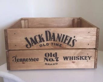Jack Daniel's Old Time Tennesse Whiskey Vintage Style Wooden Wine Beer Champagne Crate Box Home Garden Gift Man Cave