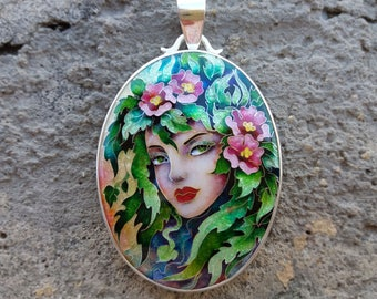 Forest Nymph. Necklace.  pendant. cloisonne enamel. jewelry, sterling silver