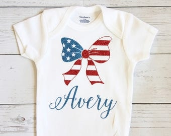 4th of July onesie | Personalized 4th of July onesie, My first 4th of July, Baby girl onesie, Forth of July, Baby girl clothes, First 4th