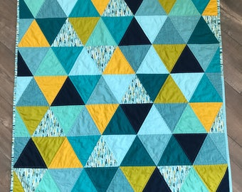 modern triangle quilt | blue patchwork baby quilt | equilateral triangle quilt | handmade baby shower gift