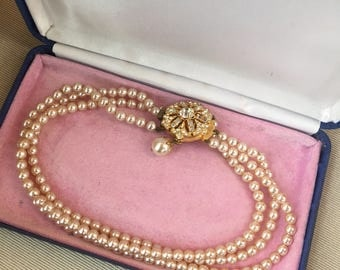 Vintage 1950's Three - Strand Faux Pearl Chocker Necklace with Gold and Rhinestone Inset Box Clasp Detail