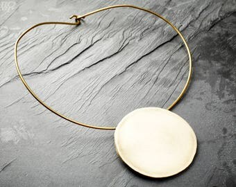 Eclipse Collar Necklace, Brass Circle, Handmade to Order