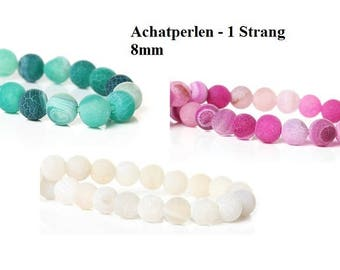 1 strand eight beads, jewelry beads, 8 mm, white, green, fuchsia