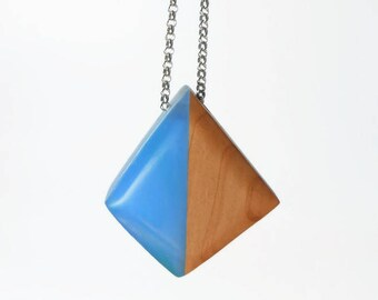 Wooden and colored resin necklace, pendant, wooden pendant and colored resin-gift idea for her