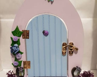 Fairy door, Lilac and Blue Fairy Door, Handmade Fairy Door, Fairy Decoration