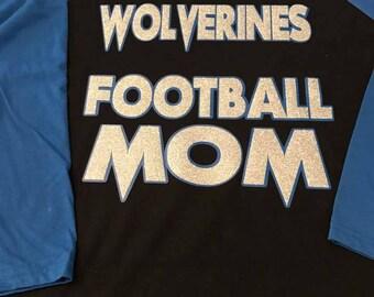 Football Mom Shirt 3/4 Sleeve Baseball Tee