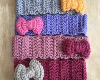 Crochet Headband with Bow, 1-2 years bow headband, childs bow headband, chunky bow headband, vegan friendly headband, ear warmer