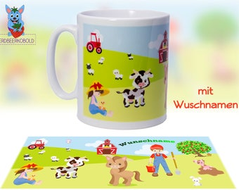 "Cup subject ""Farm"" ceramic with your NAME"