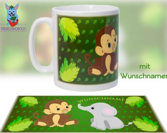 """""""Jungle"""" Cup motif ceramic with your NAME"""