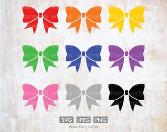 Cheer Bows Pack - Vector / Cut File, Silhouette, Cricut, PNG, JPEG, Clip Art, Stock Photo, Download, Cheerleading, Sports, Team, Cute, Color