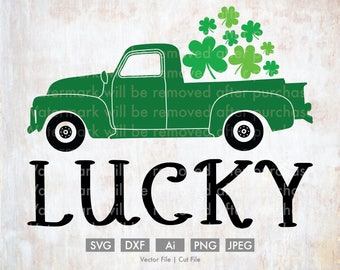 Lucky St. Patty's Day Truck - Cut File/Vector, Silhouette, Cricut, SVG, PNG, Clip Art, Download, Holidays, Clovers, St. Patrick's Day, Old