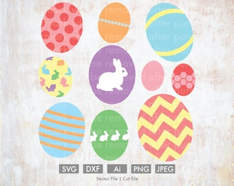 Easter Egg Bundle - Cut File/Vector, Silhouette, Cricut, SVG, PNG, Clip Art, Download, Holidays, Happy Easter, Chevron, Decorated, Bunny