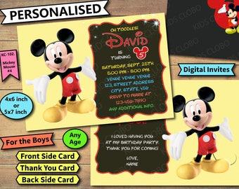 Mickey mouse Invites, Mickey mouse Birthday Invite, Mickey mouse Birthday Invitation, Mickey mouse Birthday Party Invite, Mickey mouse