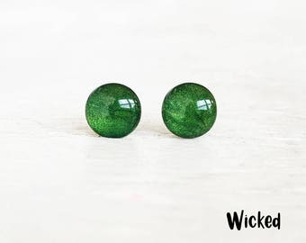 Deep Green earrings, Green Post earrings, Green stud earrings, Hypoallergenic earrings, Small green studs, Ear Sugar, Green jewelry